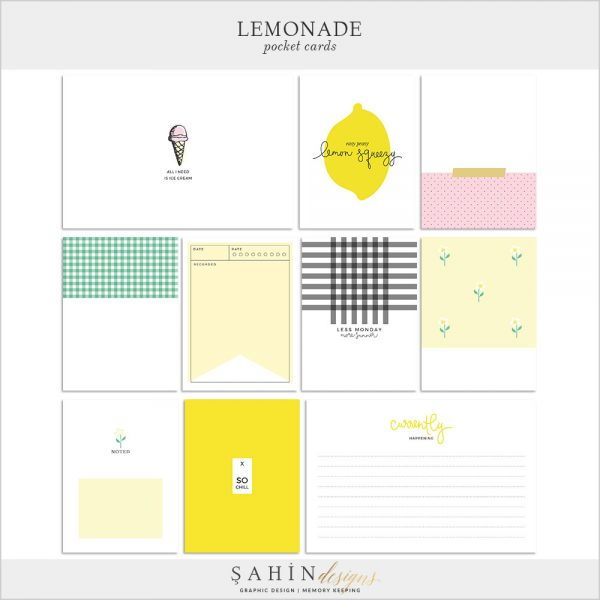 Lemonade Digital Scrapbook Pocket Cards by Sahin Designs. Click to download the kit. Pin & save for later!