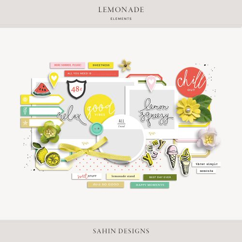 Lemonade Digital Scrapbook Elements - Sahin Designs