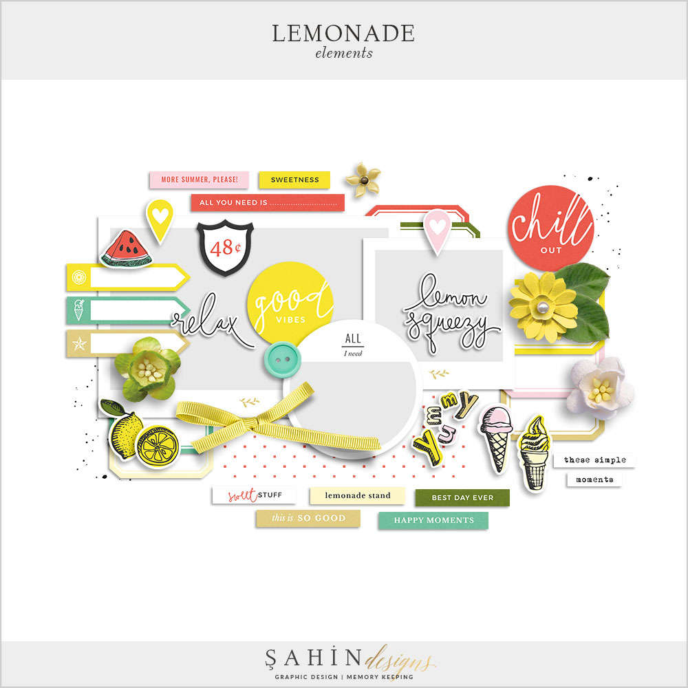 Lemonade Digital Scrapbook Elements by Sahin Designs. Click to download the kit. Pin & save for later!