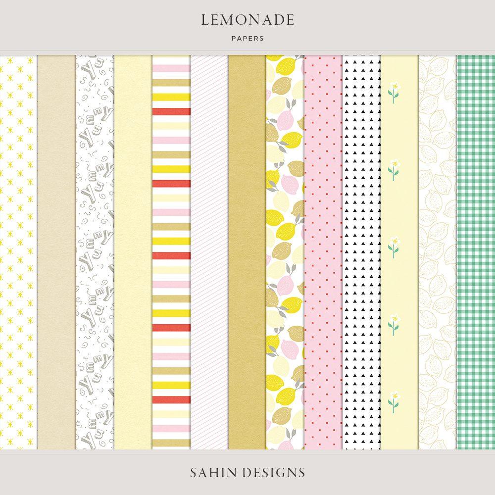 Lemonade Digital Scrapbook Papers - Sahin Designs