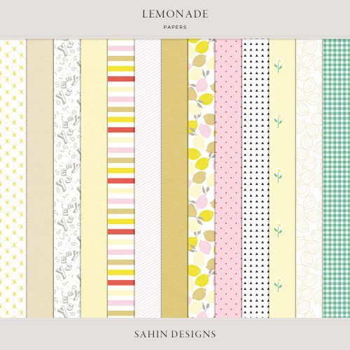 Lemonade Digital Scrapbook Papers - Sahin Designs