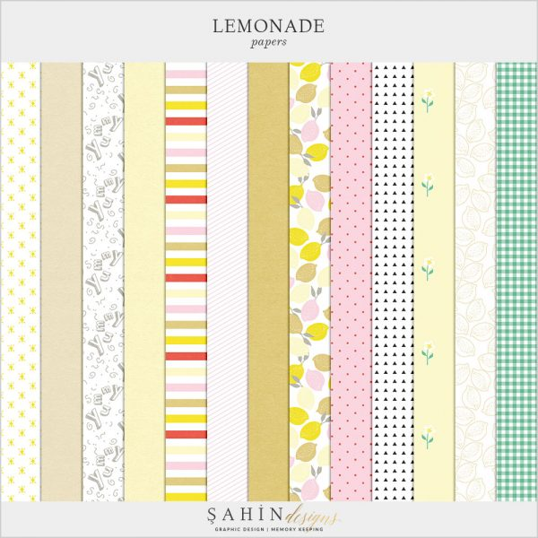 Lemonade Digital Scrapbook Papers by Sahin Designs. Click to download the kit. Pin & save for later!