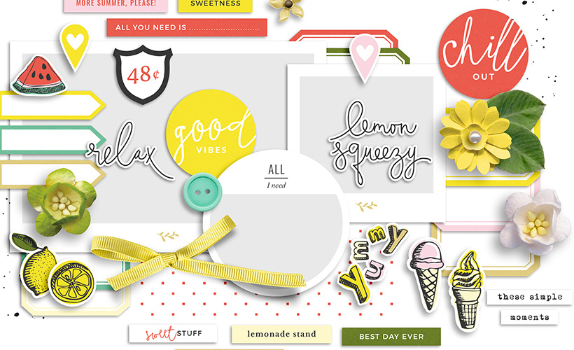 Lemonade Digital Scrapbook Collection by Sahin Designs. Click to download the kit. Pin & save for later!