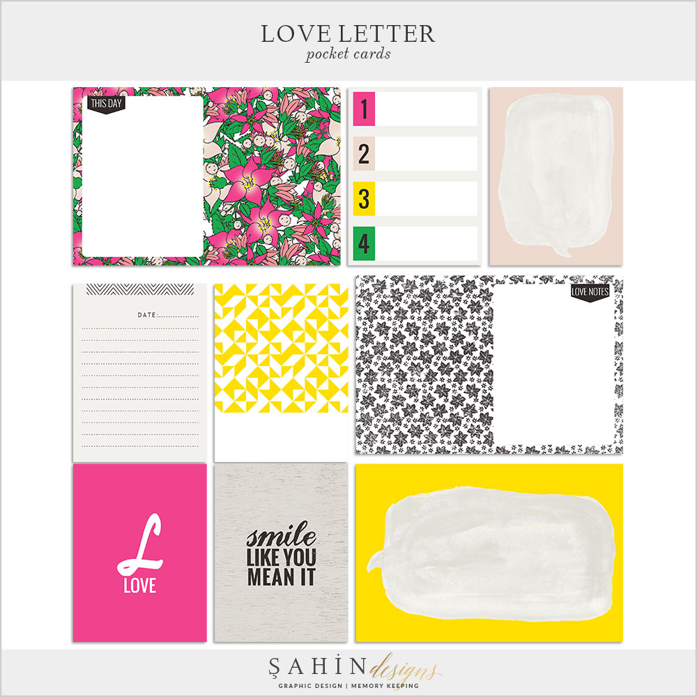 Love Letter Digital Scrapbook Pocket Cards by Sahin Designs. Click to download the kit. Pin & save for later!