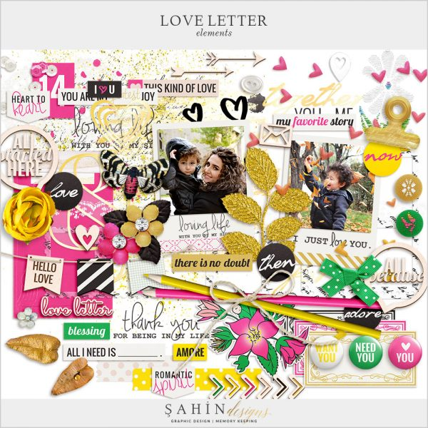 Love Letter Digital Scrapbook Elements by Sahin Designs. Click to download the kit. Pin & save for later!