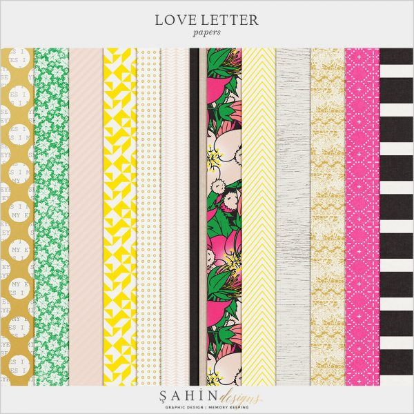Love Letter Digital Scrapbook Papers by Sahin Designs. Click to download the kit. Pin & save for later!
