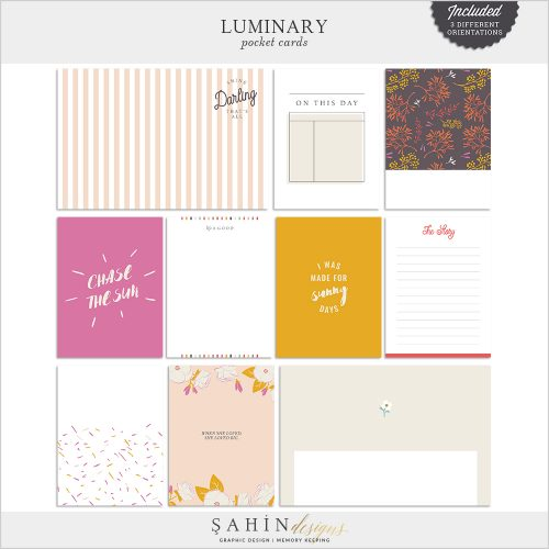 Luminary Digital Scrapbook Pocket Cards by Sahin Designs. Click to download the kit. Pin & save for later!