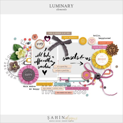 Luminary Digital Scrapbook Elements by Sahin Designs. Click to download the kit. Pin & save for later!