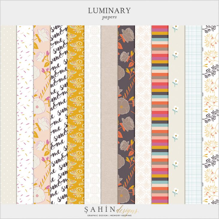 Luminary Digital Scrapbook Papers by Sahin Designs. Click to download the kit. Pin & save for later!