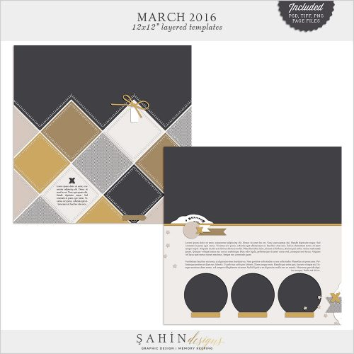 March 2016 Digital Scrapbook Layout Templates/Sketches by Sahin Designs. Click to download the kit. Pin & save for later!