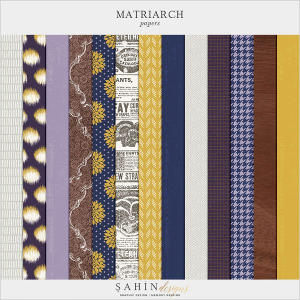 Matriarch Digital Scrapbook Papers by Sahin Designs. Click to download the kit. Pin & save for later!