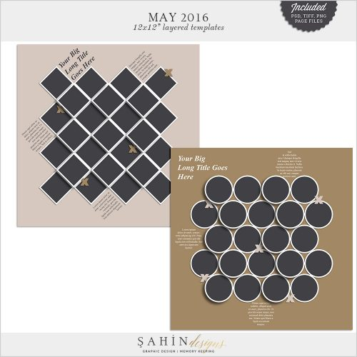 May 2016 Digital Scrapbook Layout Templates/Sketches by Sahin Designs. Click to download the kit. Pin & save for later!