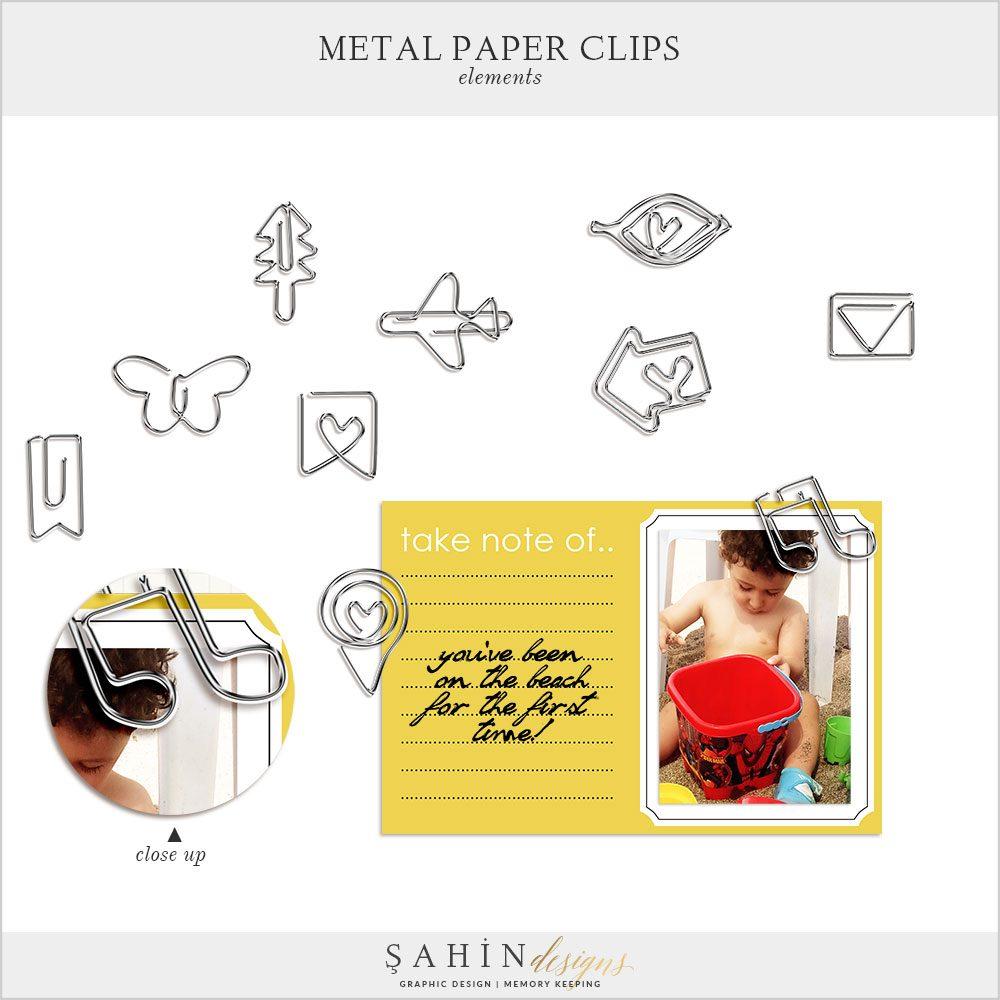 Digital Scrapbook Metal Paper Clips by Sahin Designs