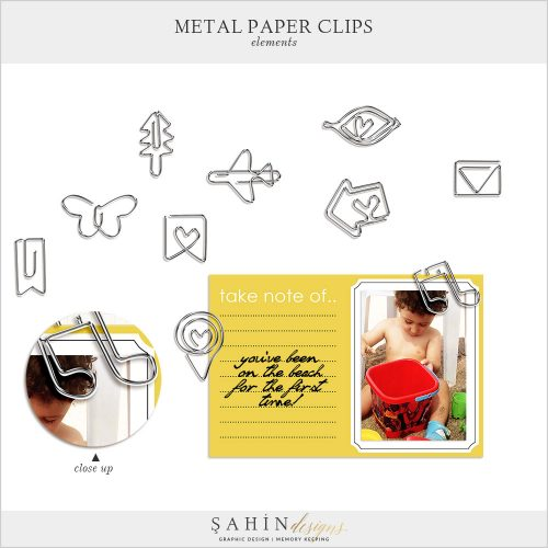 Digital Scrapbook Metal Paper Clips by Sahin Designs