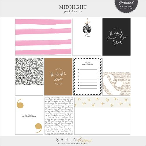 Midnight Digital Scrapbook Pocket Cards by Sahin Designs. Click to download the kit. Pin & save for later!