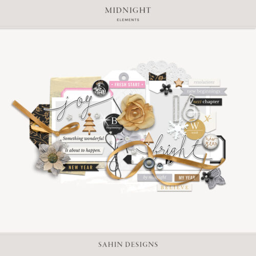 Midnight Digital Scrapbook Elements - Sahin Designs