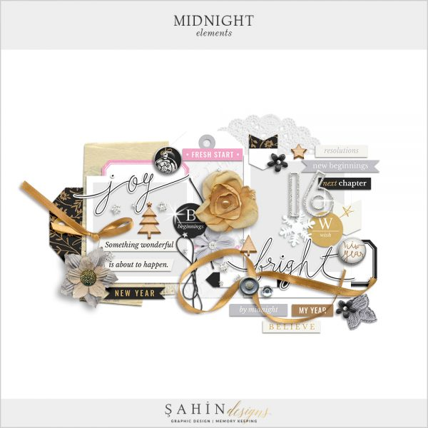 Midnight Digital Scrapbook Elements by Sahin Designs. Click to download the kit. Pin & save for later!
