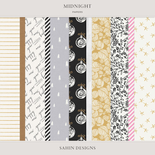 Midnight Digital Scrapbook Papers - Sahin Designs