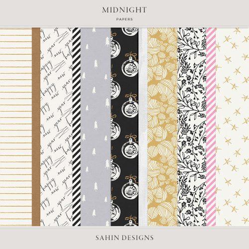 Midnight Digital Scrapbook Papers - Sahin Designs