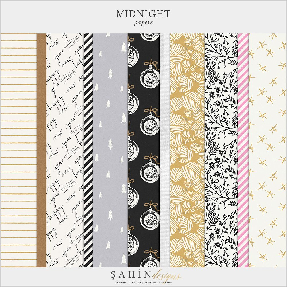 Midnight Digital Scrapbook Papers by Sahin Designs. Click to download the kit. Pin & save for later!