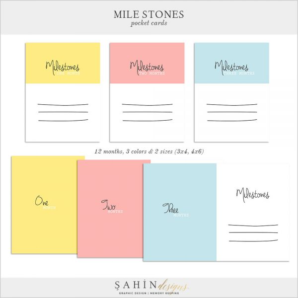 Milestones Digital Scrapbook Pocket Cards by Sahin Designs. Click thru to download the kit. Pin & save for later!