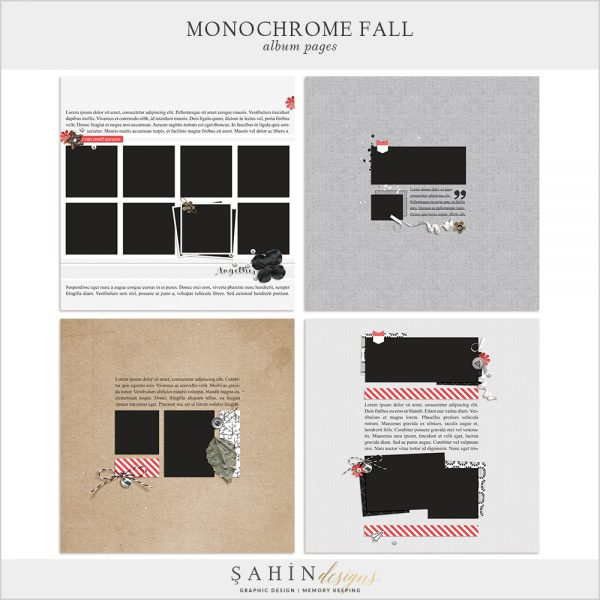 Monochrome Fall Digital Scrapbook Album Pages by Sahin Designs. Click to download the kit. Pin & save for later!