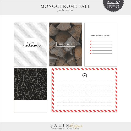 Monochrome Fall Digital Scrapbook Pocket Cards by Sahin Designs. Click to download the kit. Pin & save for later!