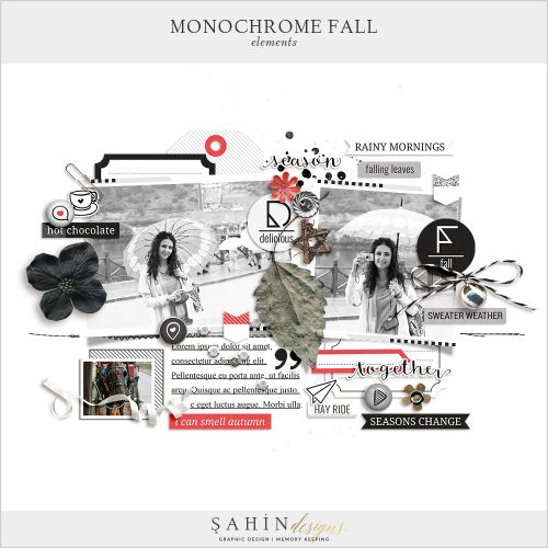 Monochrome Fall Digital Scrapbook Elements by Sahin Designs. Click to download the kit. Pin & save for later!