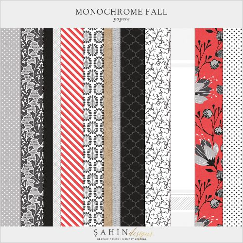 Monochrome Fall Digital Scrapbook Papers by Sahin Designs. Click to download the kit. Pin & save for later!