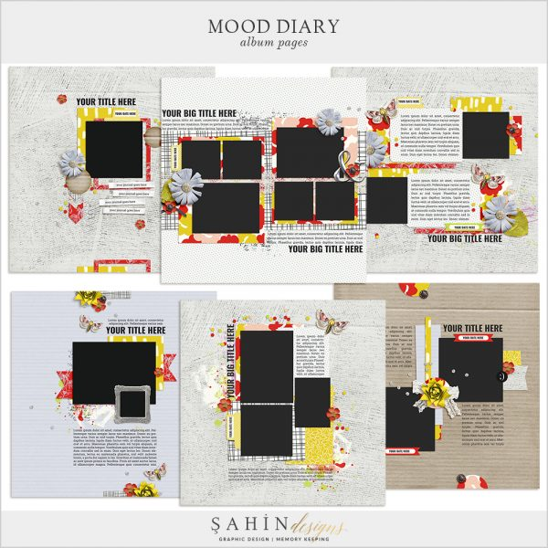 Mood Diary Digital Scrapbook Album Pages by Sahin Designs. Click to download the kit. Pin & save for later!