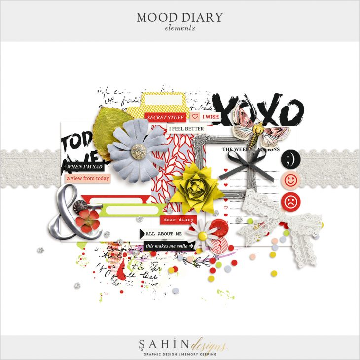 Mood Diary Digital Scrapbook Elements by Sahin Designs. Click to download the kit. Pin & save for later!