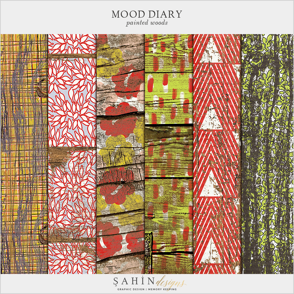 Mood Diary Digital Scrapbook Painted Woods by Sahin Designs. Click to download the kit. Pin & save for later!