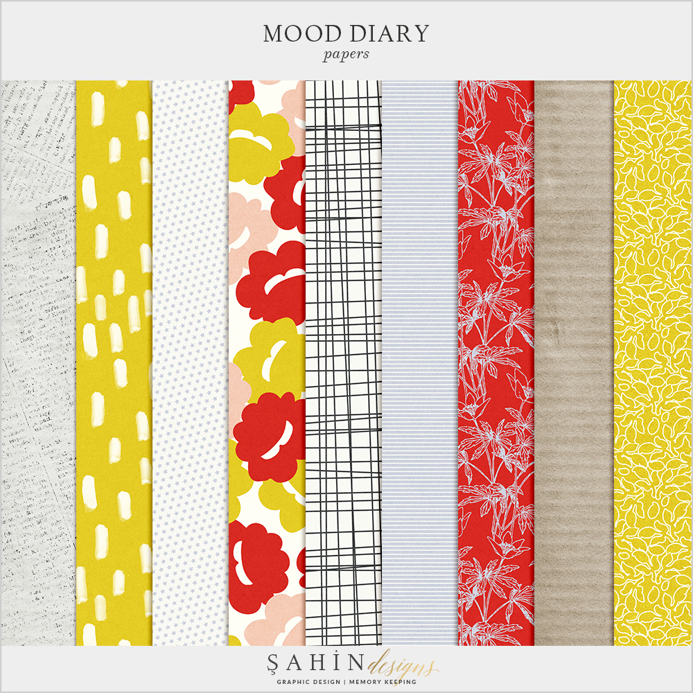 Mood Diary Digital Scrapbook Papers by Sahin Designs. Click to download the kit. Pin & save for later!