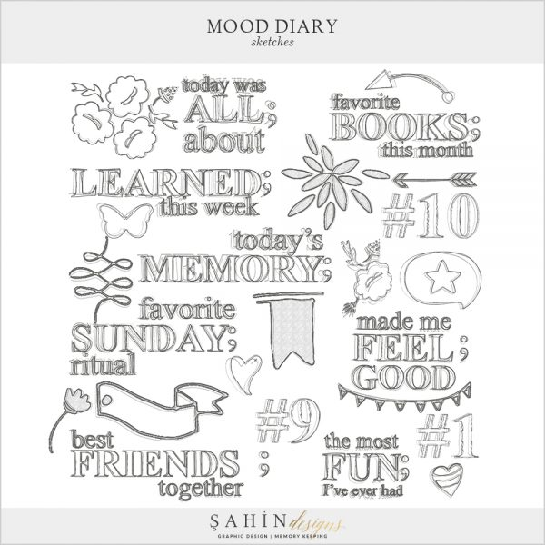 Mood Diary Digital Scrapbook Sketches by Sahin Designs. Click to download the kit. Pin & save for later!