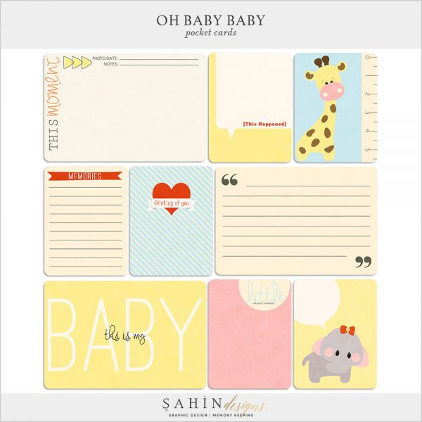 Oh Baby Baby Digital Scrapbook Pocket Cards by Sahin Designs. Click thru to download the kit. Pin & save for later!