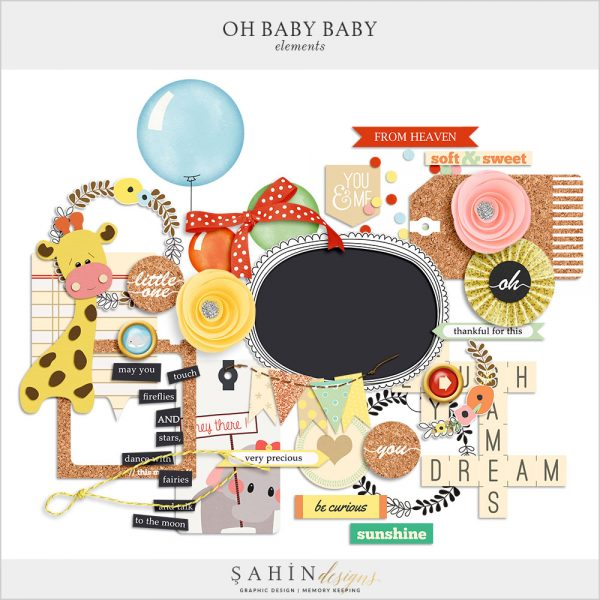 Oh Baby Baby Digital Scrapbook Elements by Sahin Designs. Click thru to download the kit. Pin & save for later!