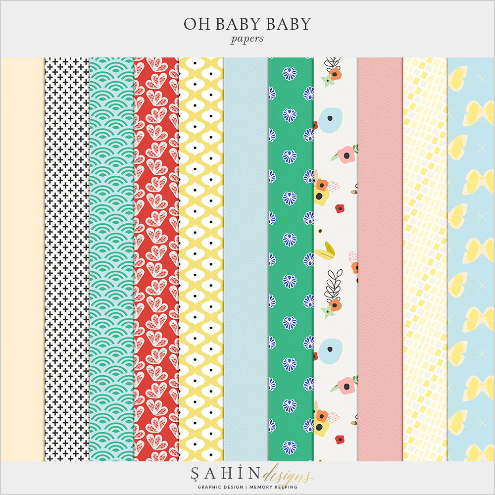 Oh Baby Baby Digital Scrapbook Papers by Sahin Designs. Click thru to download the kit. Pin & save for later!