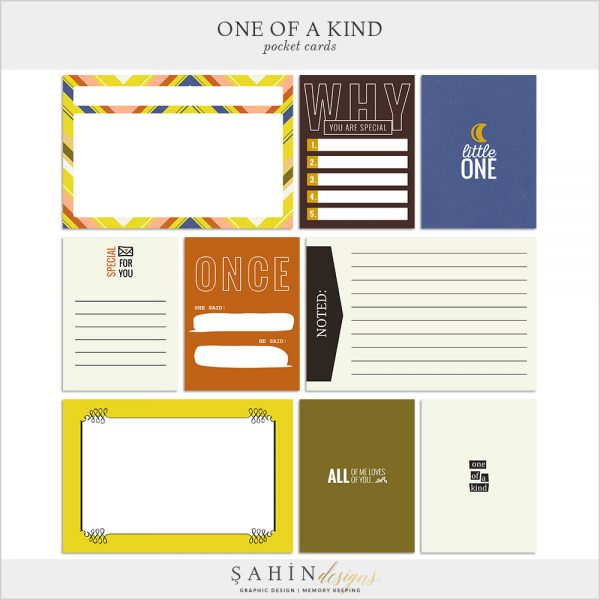 One Of A Kind Digital Scrapbook Pocket Cards by Sahin Designs. Click to download the kit. Pin & save for later!