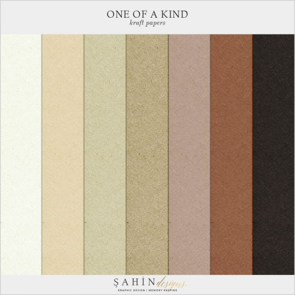 One Of A Kind Digital Scrapbook Kraft Papers by Sahin Designs. Click to download the kit. Pin & save for later!