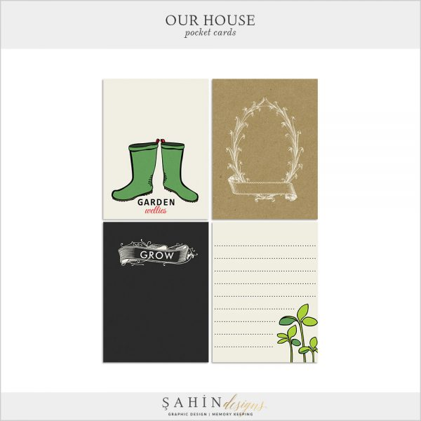 Our House-Garden Digital Scrapbook Pocket Cards by Sahin Designs. Click to download the kit. Pin & save for later!