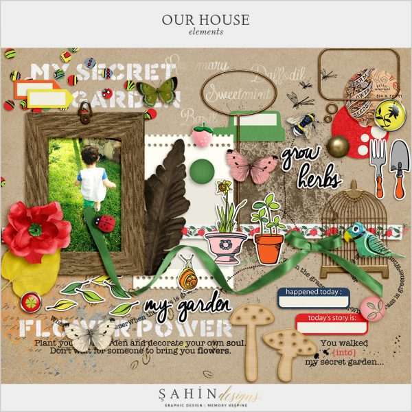 Our House-Garden Digital Scrapbook Elements by Sahin Designs. Click to download the kit. Pin & save for later!