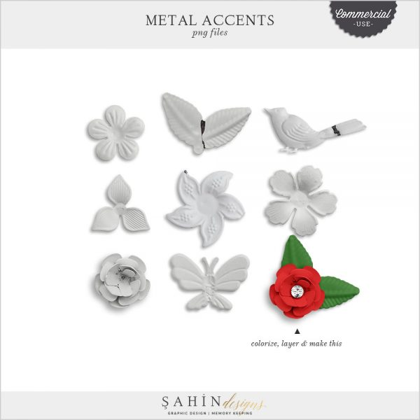 Metal Accents Commercial Use Digital Scrapbook Kit by Sahin Designs. Click to download the kit. Pin & save for later!