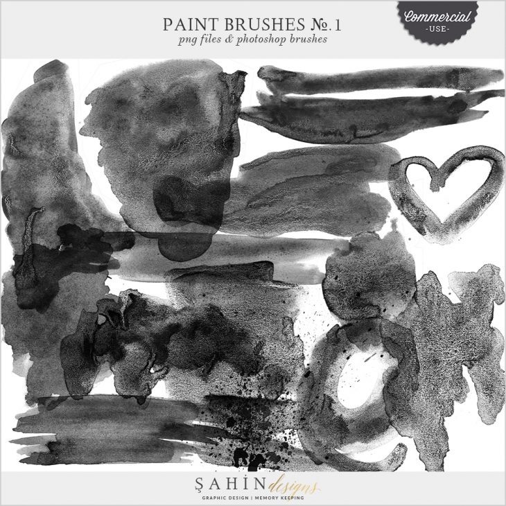 Paint Brushes No.1 by Sahin Designs - Commercial Use Digital Scrapbook Supplies