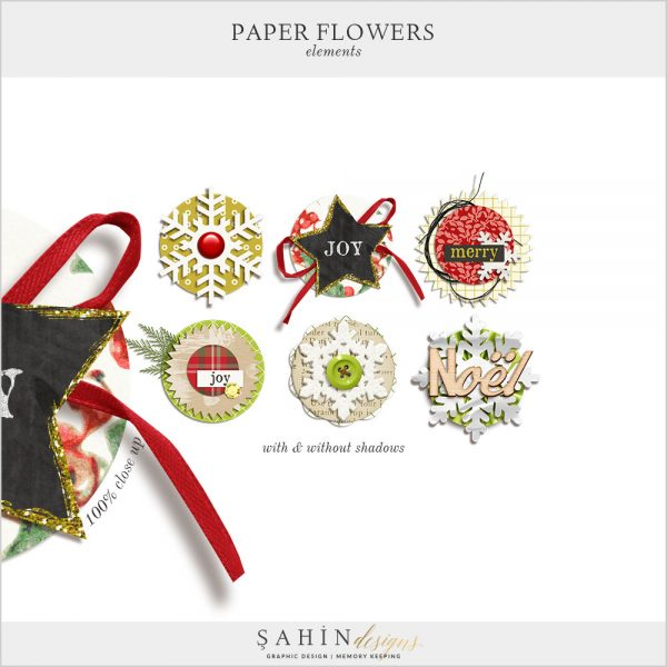 Paper Flowers Digital Scrapbook Embellishments by Sahin Designs. Click to download the kit. Pin & save for later!