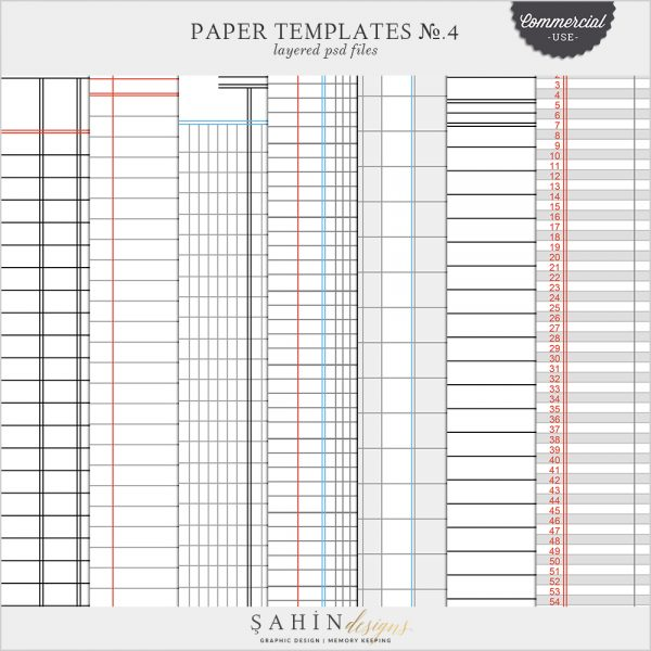 Ledger Digital Scrapbook Pattern Templates for Commercial Use by Sahin Designs
