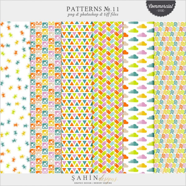 Patterns No.11 by Sahin Designs. Commercial Use Digital Scrapbook Supplies. Click to download the kit. Pin & save for later!