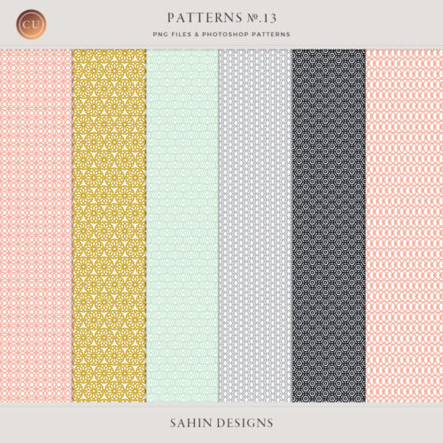 Patterns No.13 by Sahin Designs. Commercial Use Digital Scrapbook Supplies. Click to download the kit. Pin & save for later!
