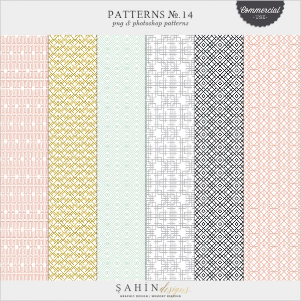 Patterns No.14 by Sahin Designs. Commercial Use Digital Scrapbook Supplies. Click to download the kit. Pin & save for later!