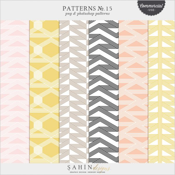 Patterns No.15 by Sahin Designs. Commercial Use Digital Scrapbook Supplies. Click to download the kit. Pin & save for later!
