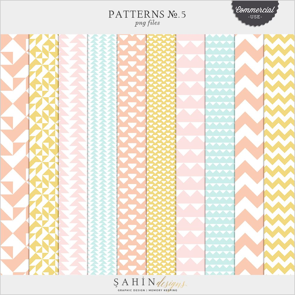 Patterns No.5 Digital Scrapbook Pattern Templates for Commercial Use by Sahin Designs